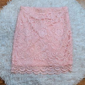 Ambiance Women's Pink Lace Pencil Skirt